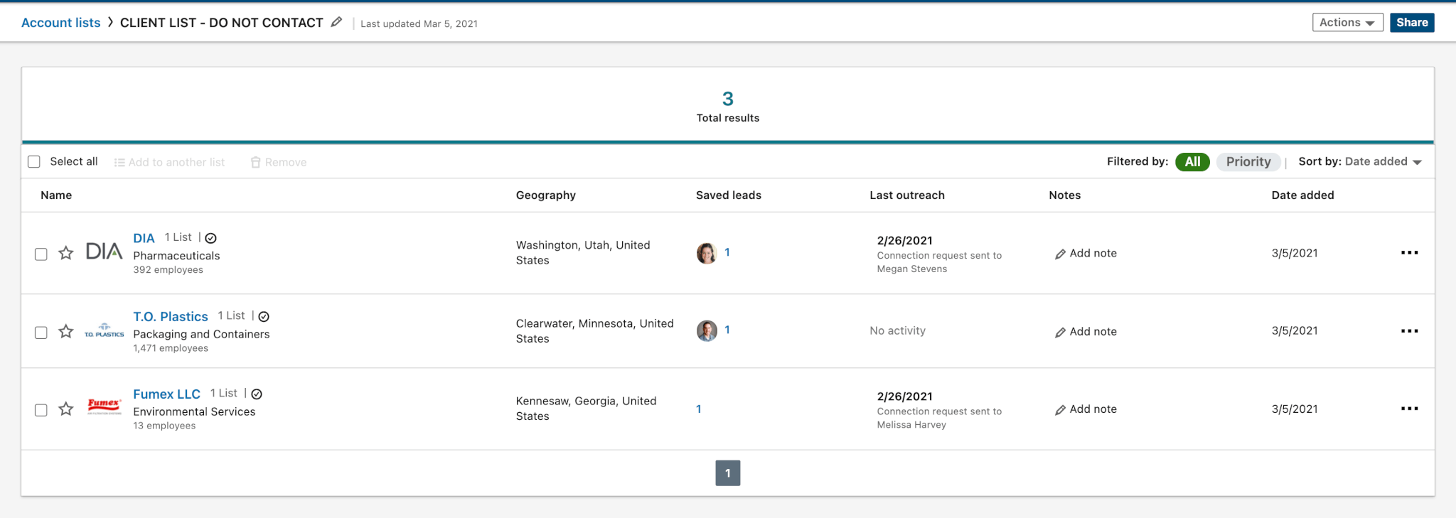 Linkedin Import Accounts As CSV - reviewing the imported accounts