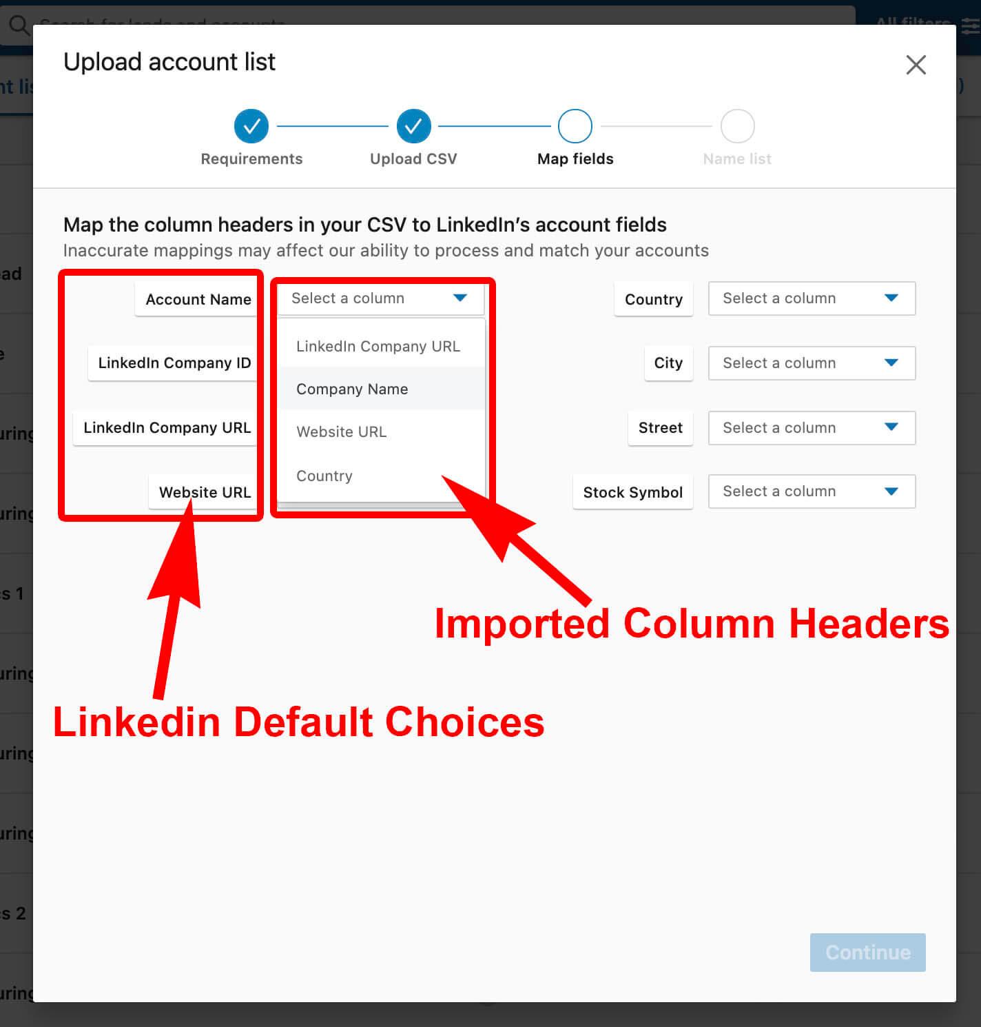Linkedin Import Accounts As CSV - mapping columns