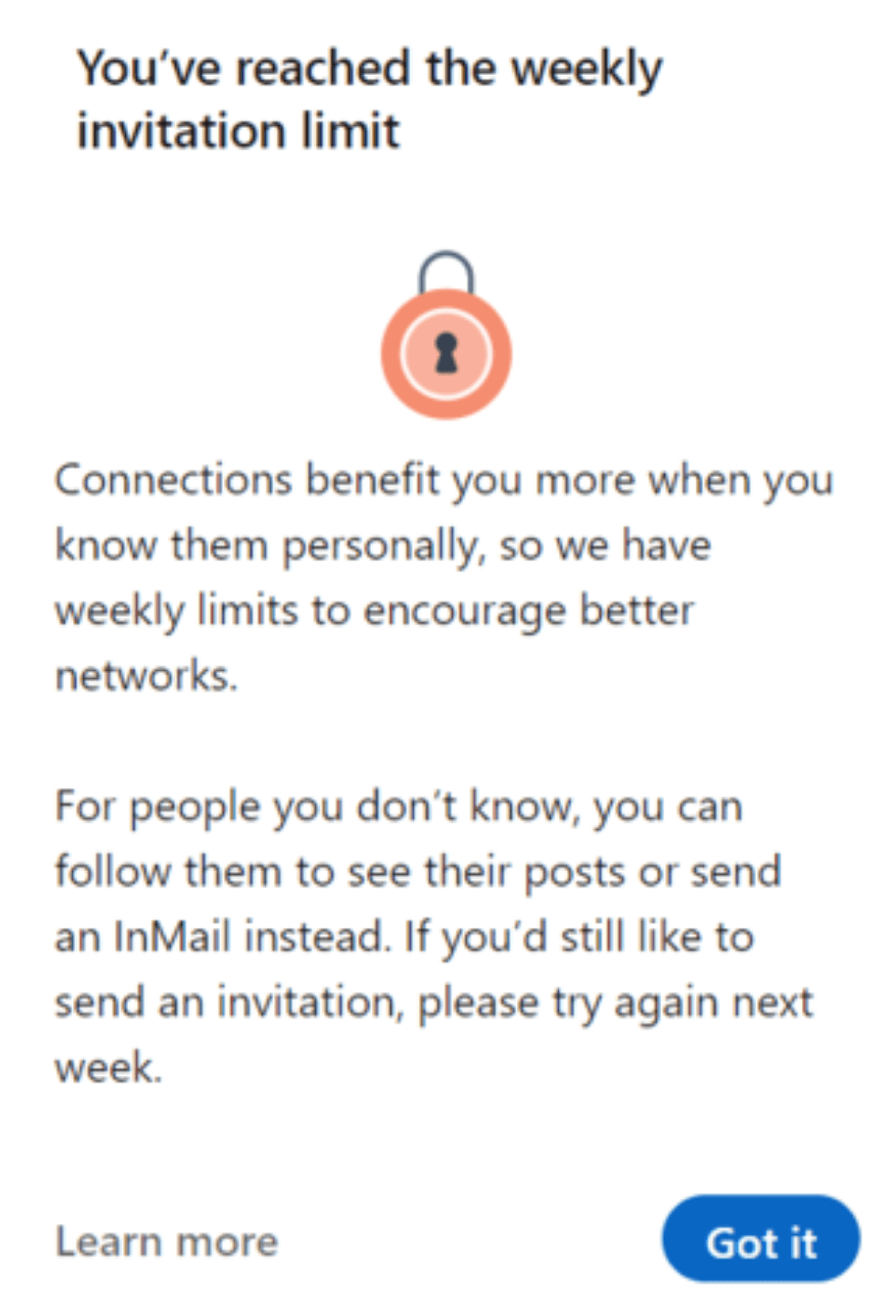 You've reached the weekly invitation limit - Linkedin Limits